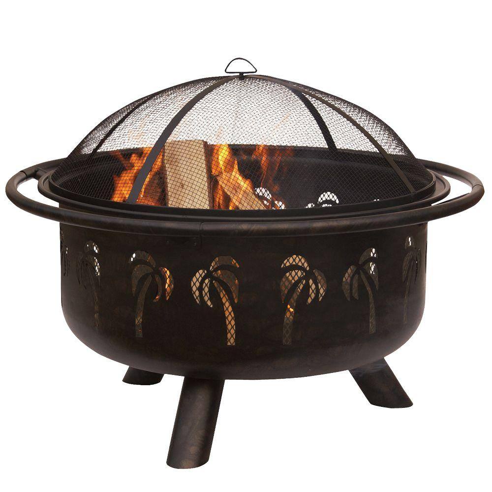 UniFlame 30 in. D Drawn Bronze Wood Burning Fire Pit with Heavy Guage Spark Arrester