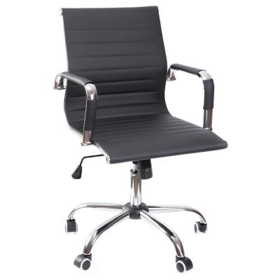 Black Modern Leather Swivel Office Chair with Adjustable Height and Casters