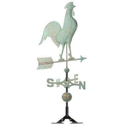 48 in. Verdigris Rooster Copper Weathervane