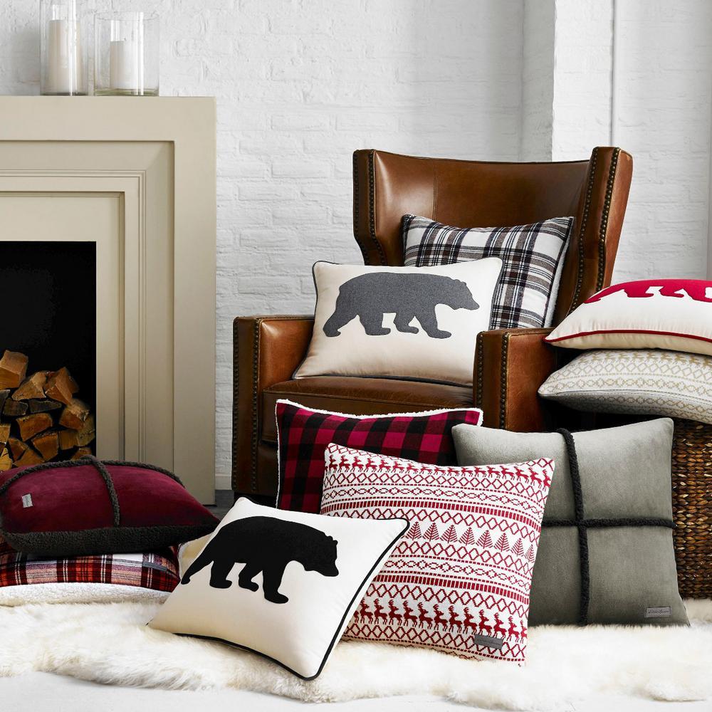 Bear Animal Print Cotton 16 in. x 20 in. Throw Pillow