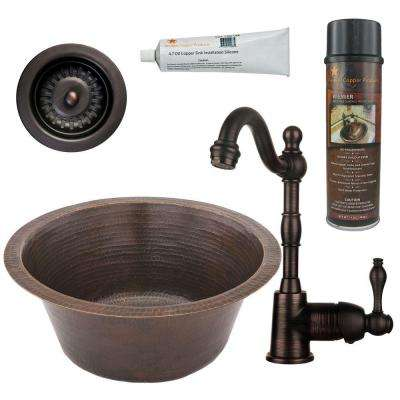 All-in-One Dual Mount Hammered Copper 16 in. 0-Hole Round Bar/Prep Sink in Oil Rubbed Bronze