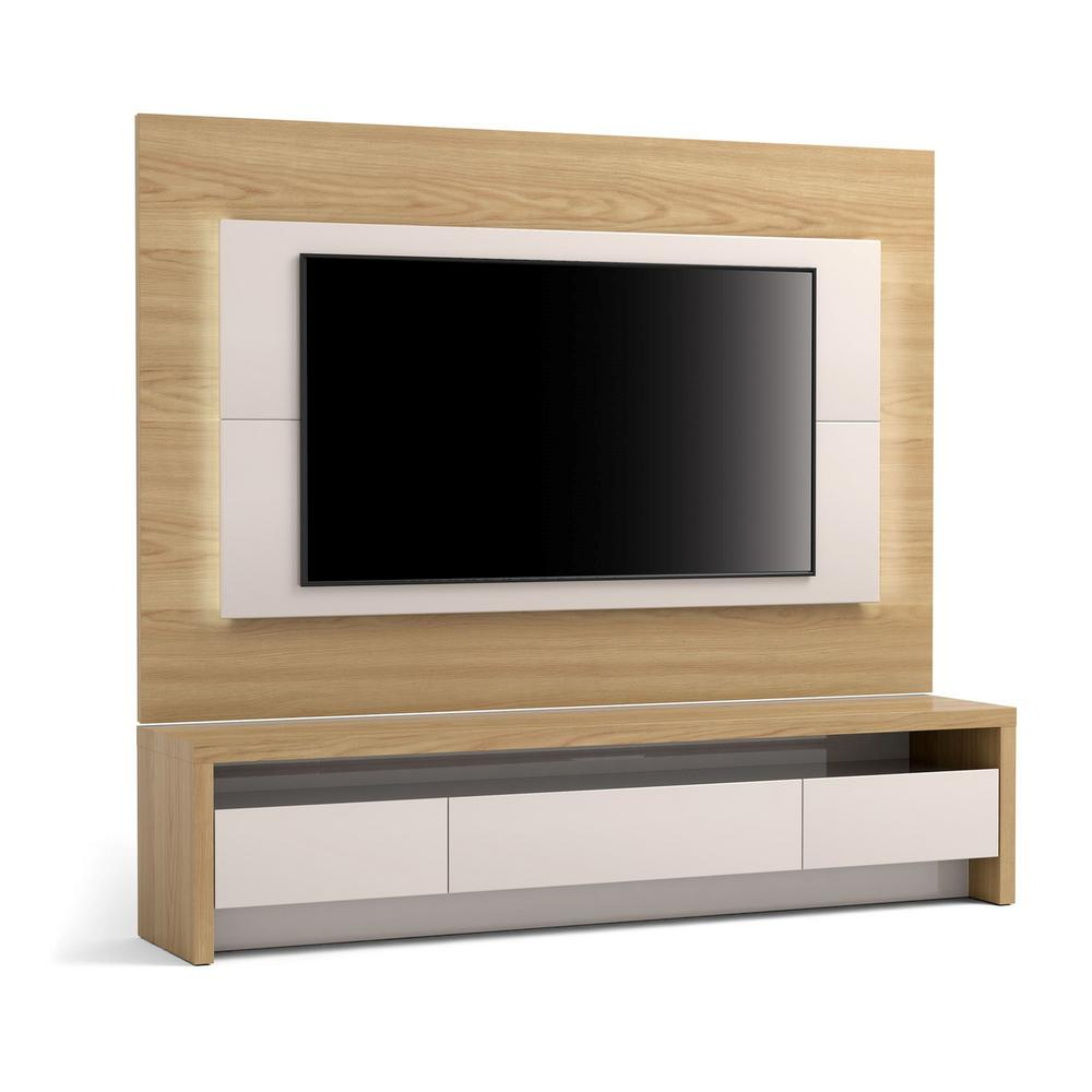 91772ee8f1d5 Manhattan Comfort Sylvan Nature Wood and Off White 2-Piece TV Stand and  Panel with