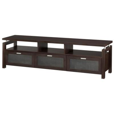 Chence 71 in. Espresso Particle Board TV Stand Fits TVs Up to 70 in. with Storage Doors