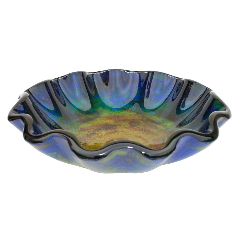 Wave Rim Glass Vessel Sink in Multi Colors with Pop-Up Drain