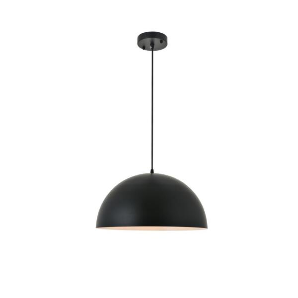 Timeless Home Frank 1-Light Pendant in Black with 11.8 in. W x 5.9 in. H Shade