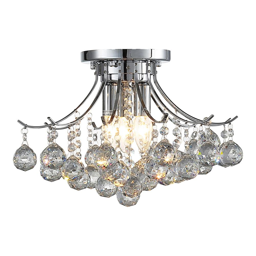 Ove Decors Warsaw 3 Light Chrome Crystal Chandelier
