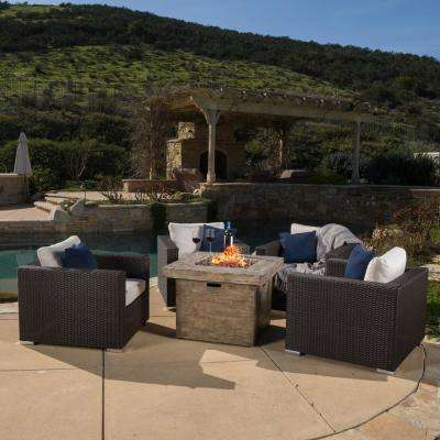 Santa Rosa Brown 5-Piece Wicker Patio Fire Pit Conversation Set with White Cushions