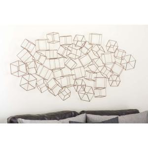 48 inch x 27 inch Modern Iron Wire 3-D Square Boxes Wall Decor by