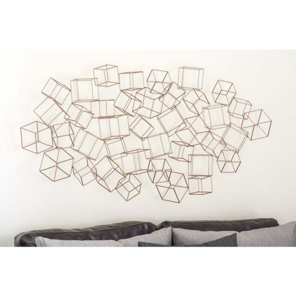 48 In X 27 In Modern Iron Wire 3 D Square Boxes Wall Decor