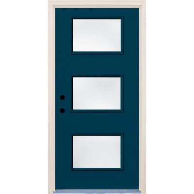 36 in. x 80 in. Right-Hand Atlantis 3 Lite Clear Glass Painted Fiberglass Prehung Front Door with Brickmould