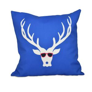 16 inch x 16 inch Cool Dude Decorative Holiday Pillow in Dazzling Blue by