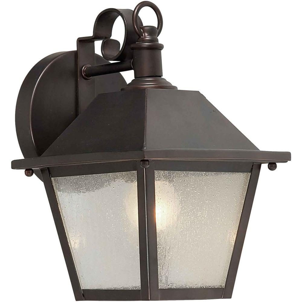 Talista 1-Light Outdoor Antique Bronze Wall Lantern with Clear Seeded Glass