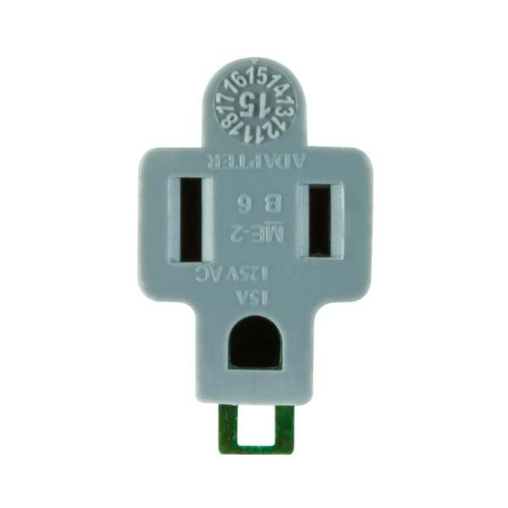 Polarized Grounding Adapter Plug, Gray