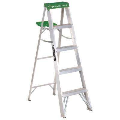 5 ft. Aluminum Step Ladder with 225 lbs. Load Capacity Type II Duty Rating