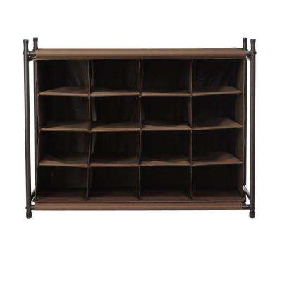 16-Compartment Shoe Organizer in Brown