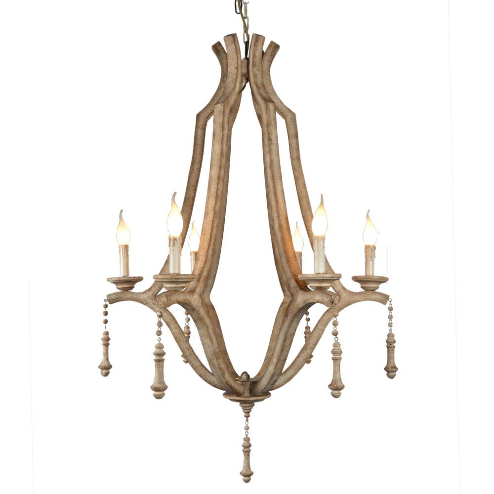Y decor musella 6 light brown wood chandelier with wood beads lz3199 6 the home depot Home decor survivor 6