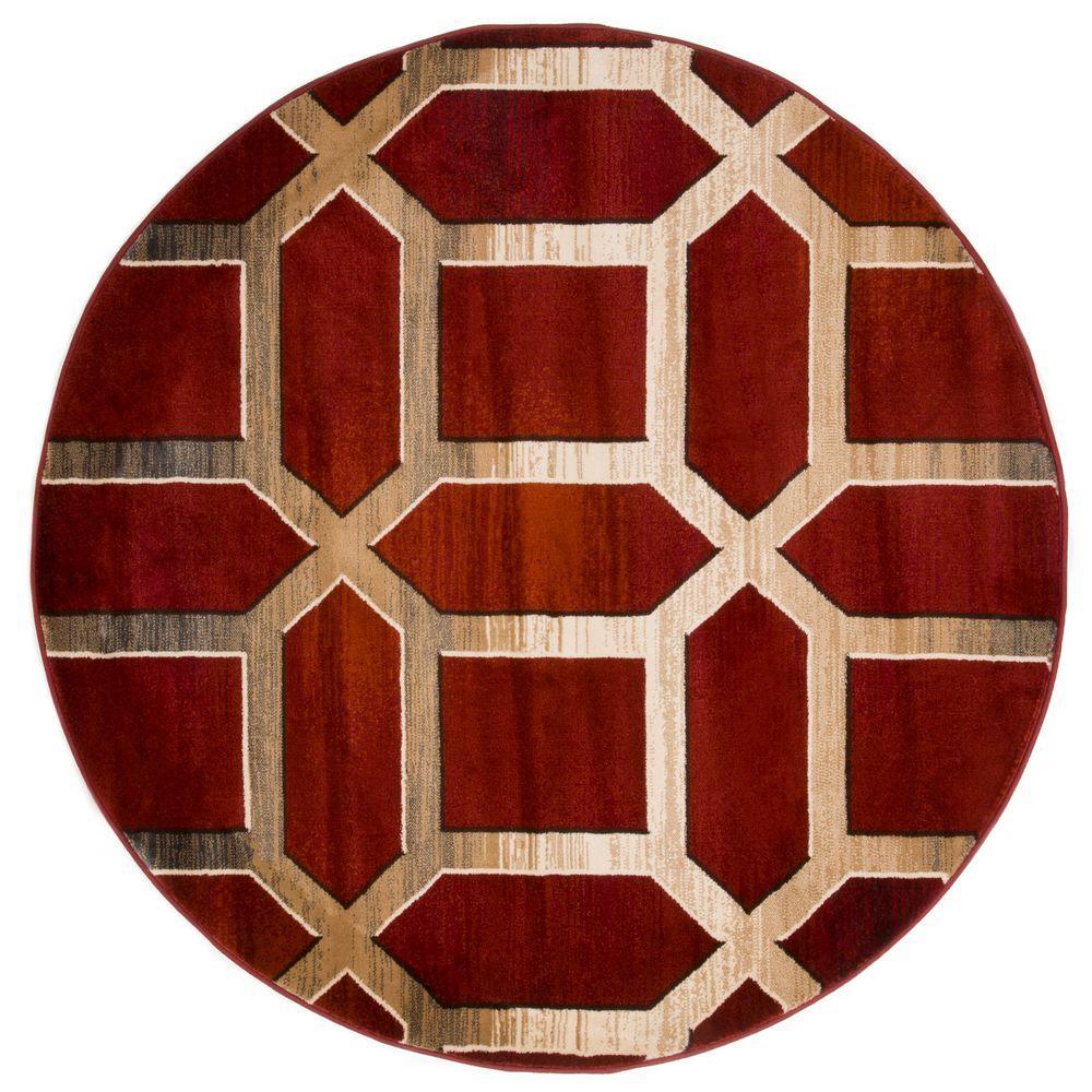Lavish Home Opus Art Deco Burgundy 5 Ft. X 5 Ft. Round Area Rug
