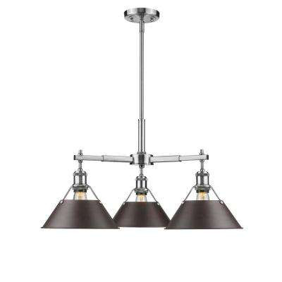 Orwell PW 3-Light Pewter Chandelier with Rubbed Bronze Shade