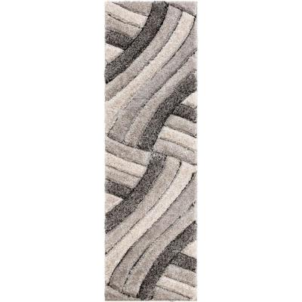 San Francisco Ucci Grey Modern Geometric Stripes 2 ft. 3 in. x 7 ft. 3 in. 3D Carved Shag Runner Rug