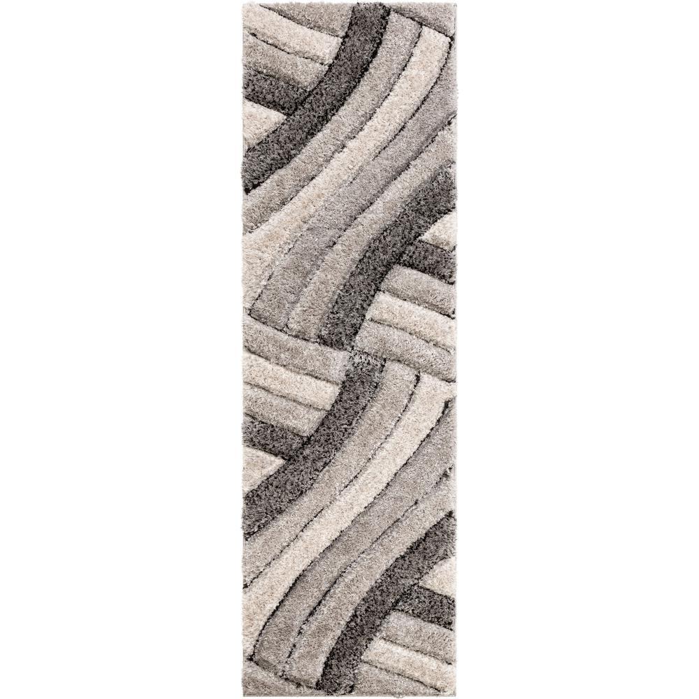 San Francisco Ucci Grey Modern Geometric Stripes 2 ft. 7 in. x 9 ft. 10 in. 3D Carved Shag Runner Rug