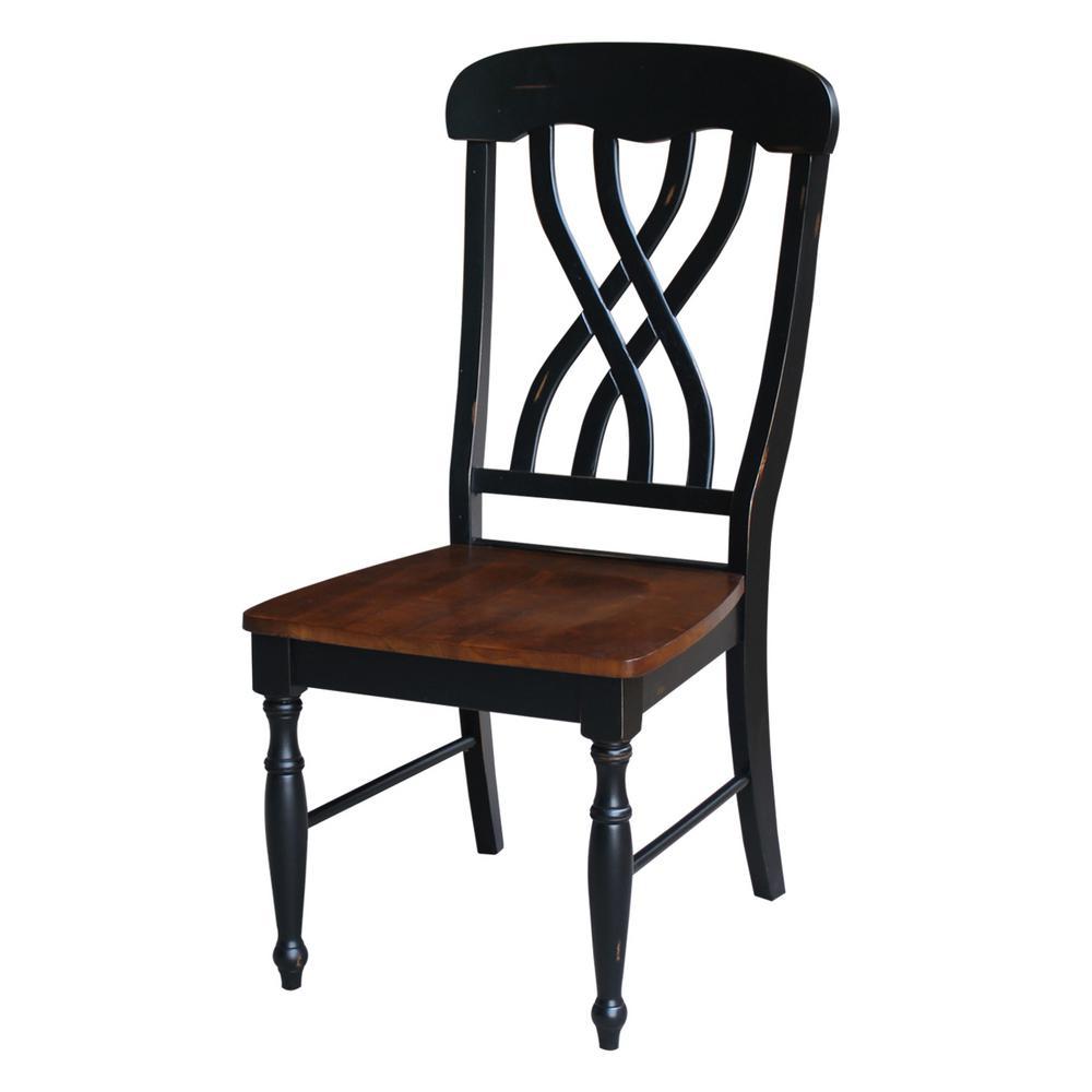 Aged Ebony and Espresso Wood Lattice Back Dining Chair (Set of 2)