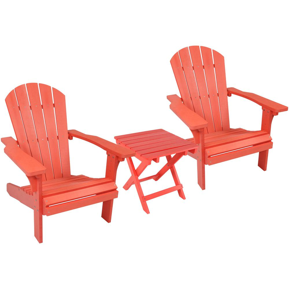 All Weather Salmon Plastic Patio Adirondack Chair With Side Table Set Of 2