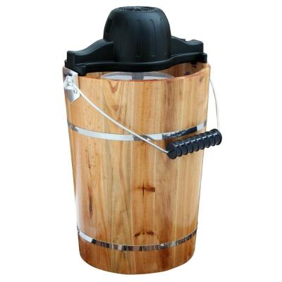 6 Qt. Pine Ice Cream Maker with Pine Tub, Ice Crusher and Mixing Paddle