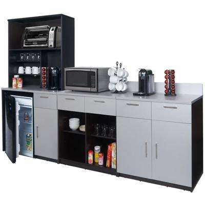 Coffee Kitchen Espresso / Silver Sideboard with Lunch Break Room Functionality with Assembled Commercial Grade 3398