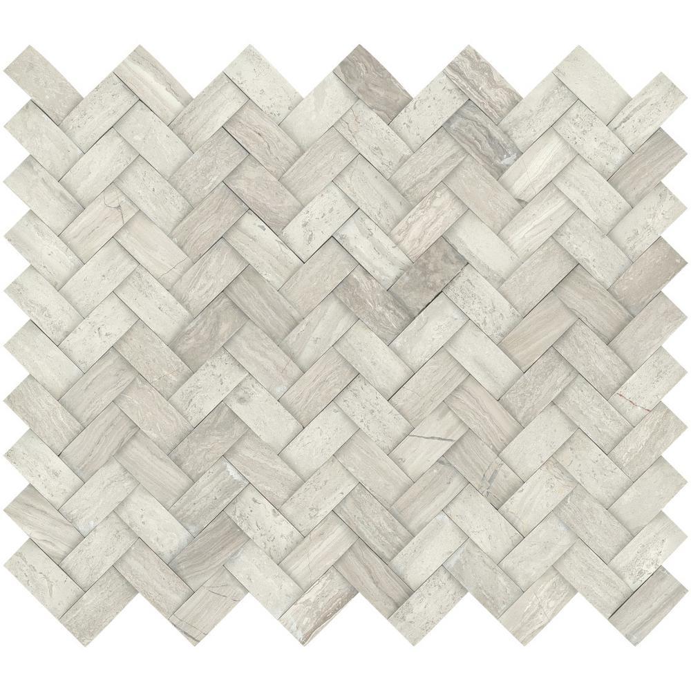Metro Cream Twine 11 in. x 13 in. x 12 mm Limestone Mosaic Tile (1.04 sq. ft.)