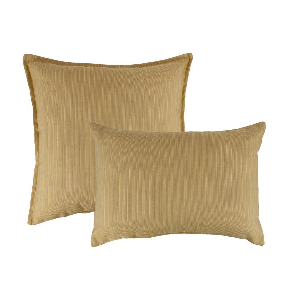 Sunbrella Dupione Cornsilk Combo Outdoor Pillow