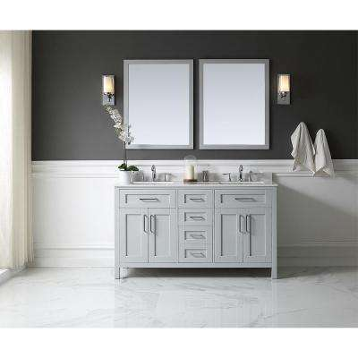 OVE Tahoe 60 in. W x 21 in. D Vanity in Dove Grey with Marble Vanity Top in White with White Basin and Mirror