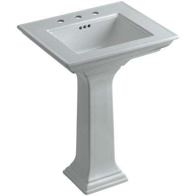 Memoirs Stately Ceramic Pedestal Bathroom Sink Combo in Ice Grey with Overflow Drain