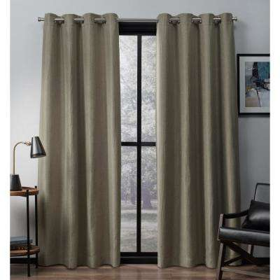 Eglinton 52 in. W x 96 in. L Woven Blackout Grommet Top Curtain Panel in Natural (2 Panels)