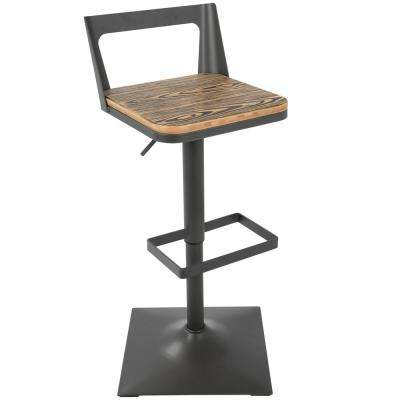 Samurai Antique and Espresso Adjustable Barstool