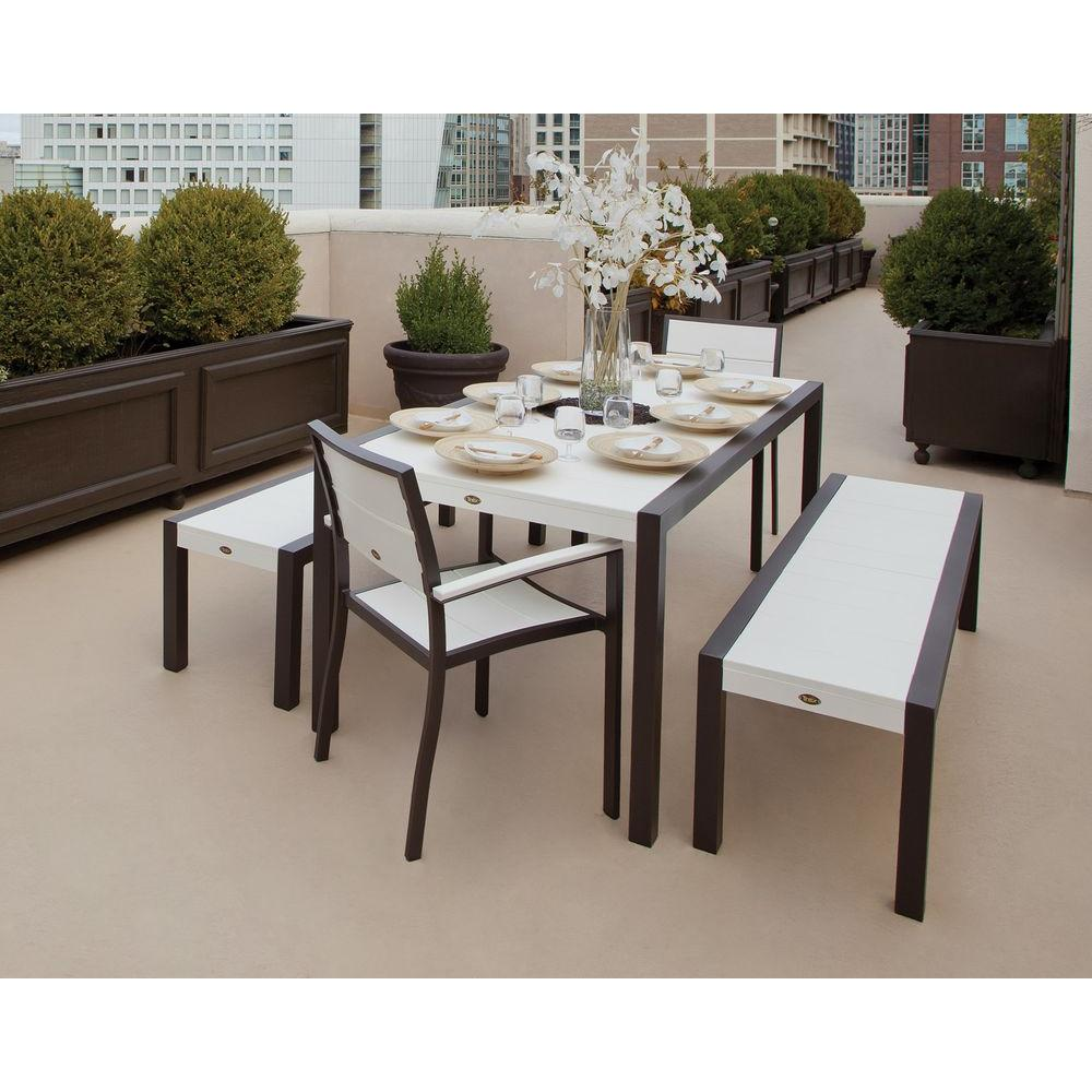 Superior Trex Outdoor Furniture Surf City Textured Bronze 5 Piece Bench Plastic Outdoor  Patio Dining Set With Classic White Slats TXS122 1 16CW   The Home Depot