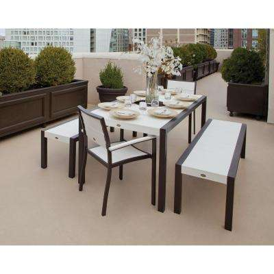 Surf City Textured Bronze 5-Piece Bench Plastic Outdoor Patio Dining Set with Classic White Slats
