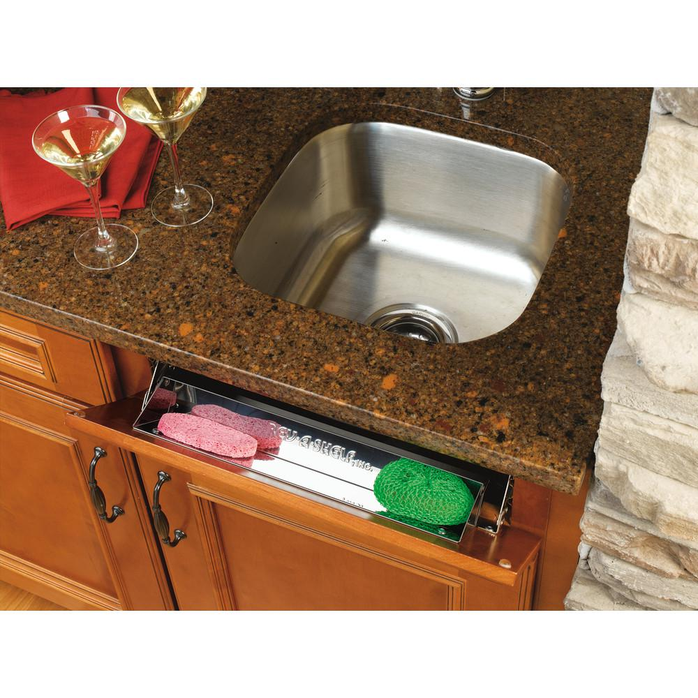 Rev A Shelf 3 In H X 16 In W X 1 688 In D Stainless Tip Out Sink Front Tray