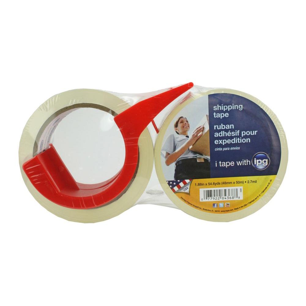 1.88 in. x 54.6 yds. Premium Packing Tape with Dispenser (2-Pack)