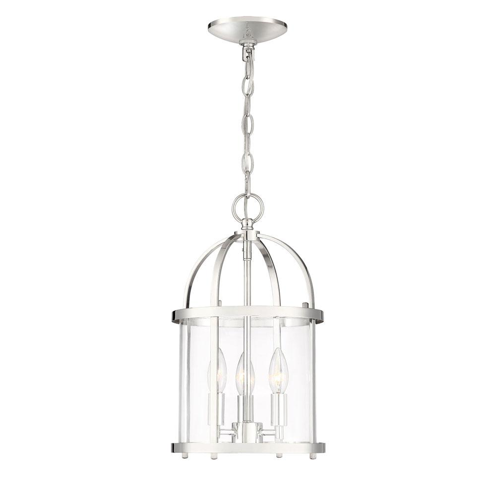 Cordelia Lighting Cordelia Lighting Round Cage Style 3-Light Polished Nickel Hanging Pendant with Clear Glass Shade