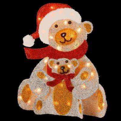 Pre-Lit 24 in. Silver Fabric Bear Decoration