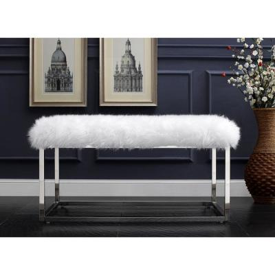 Verity White/Chrome Faux Fur Ottoman Bench with Metal Frame