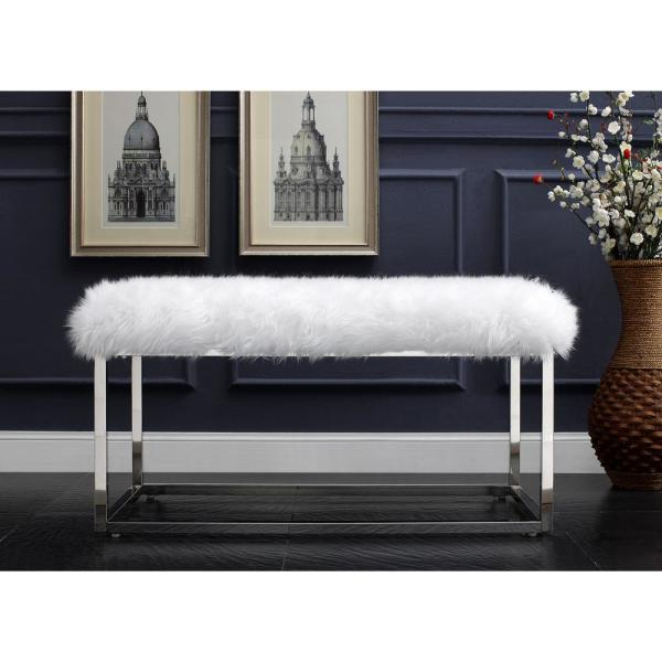Inspired Home Verity White/Chrome Faux Fur Ottoman Bench with Metal Frame