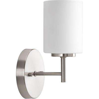 Replay 5.1 in. 1-Light Brushed Nickel Bath Sconce with Etched Opal Glass Shade