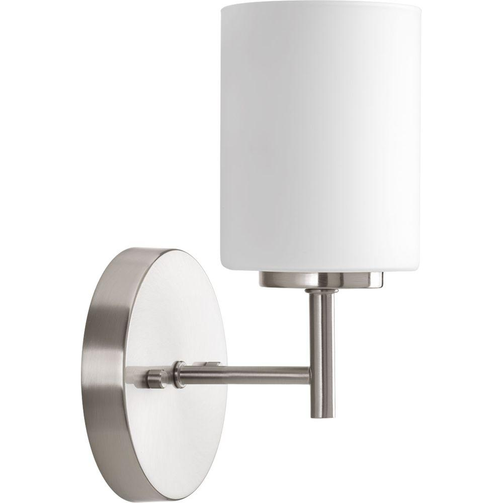 Progress Lighting Replay Collection 1 Light Brushed Nickel Bath Sconce With Etched Opal Glass Shade P2131 09