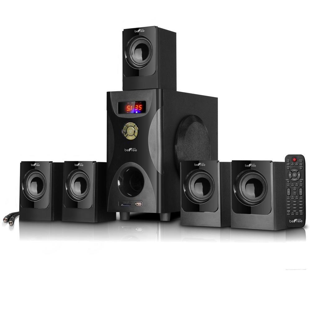 5.1-Channel Surround Sound Bluetooth Speaker System in Black Enjoy the ultimate home theater experience with be Free Sound's 5.1 Channel Surround Sound Bluetooth Speaker System. This speaker system is designed with sophistication, featuring a sleek look and smooth sound. With Bluetooth, USB, SD and FM radio capability, the system offers the best possible listening options for your enjoyment.