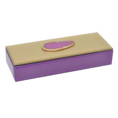 Purple Glass Box with Agate Stone