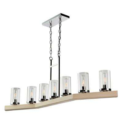 7-Light Natural Light Wood and Chrome Billiard Light