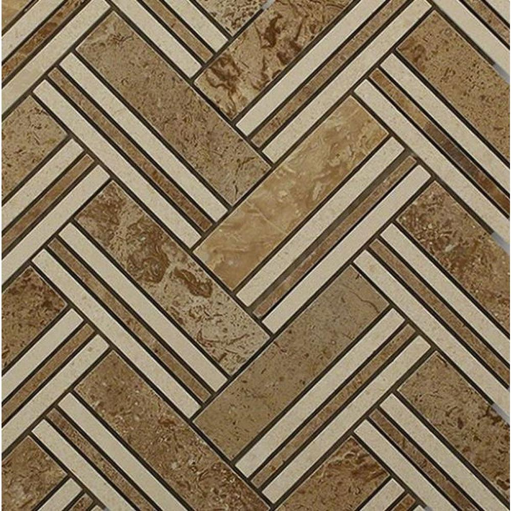Boost Travertine with Beige Line Marble Mosaic Tile - 3 in.