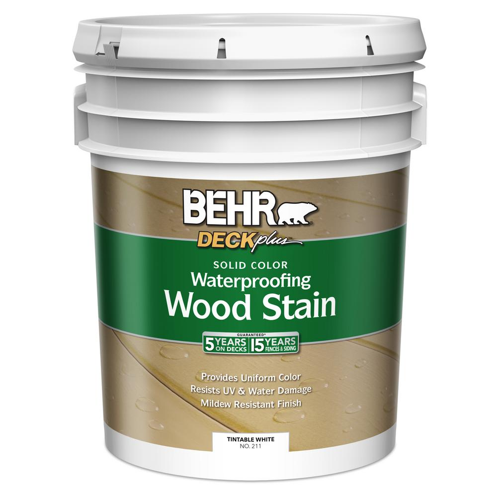 BEHR 5 gal. DECKplus White Tint Base Solid Color Waterproofing Wood Stain