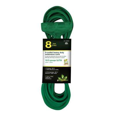 8 ft. 16/3 3-Outlet Heavy Duty Extension Cord, Green